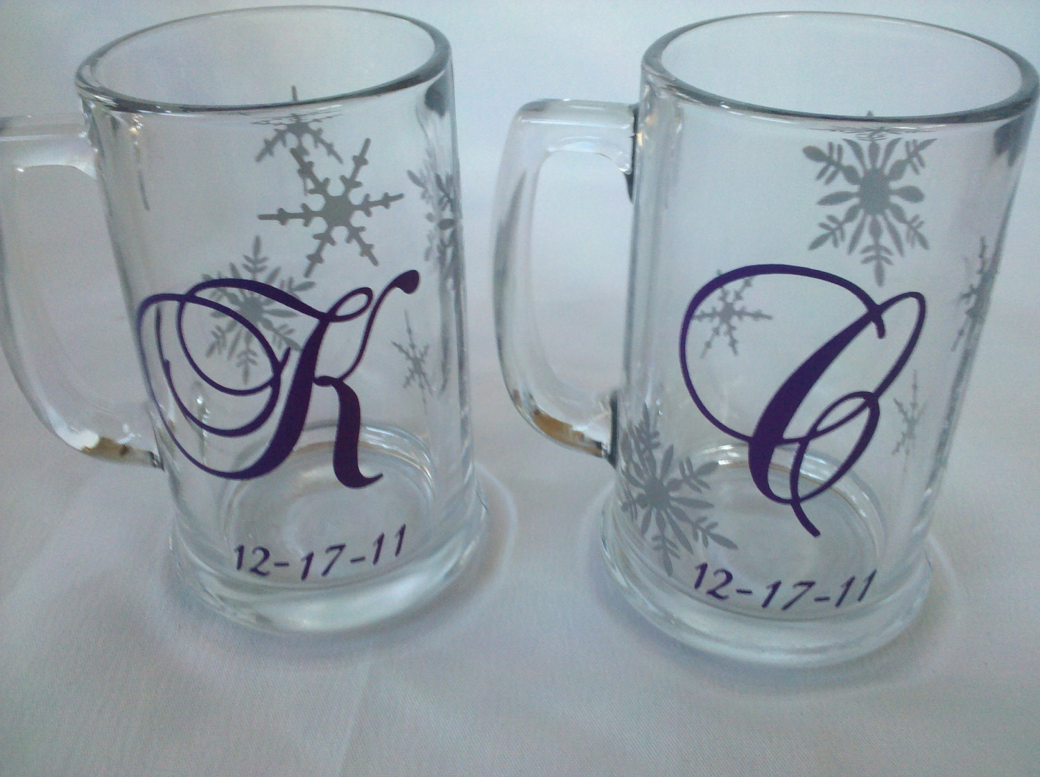 Wedding Gift Beer Mugs : Winter wedding snowflake mugs beer glasses 2 by WaterfallDesigns