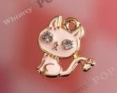 1 - Gold Tone Enamel and Rhinestone Pink Kitty Cat Charm, Cat Charm, Kitty Charm  (1-1J)