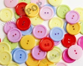 24mm Rainbow Candy Colored Buttons for Sewing Scrapbooking and More, Colorful Buttons, Kids Buttons, Craft Buttons (C1-20)
