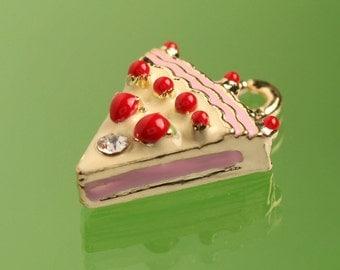 1 - 3D Strawberry Pie Tart Cake Kawaii Foodie Charm, Cake Charm (4-2J)