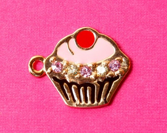 1 - Gold and Pink Cupcake Enamel and Crystal Kawaii Foodie Charm (1-2J)