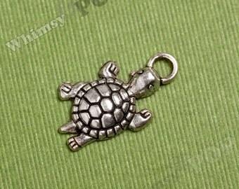 5 - Tortoise Turtle Little Turtle Tibetan Silver Charms, 13MM x 24MM (2-3B)