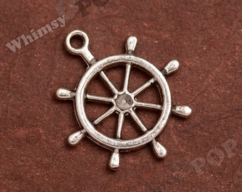 5 - Old Pirate Ship Wheel Tibetan Silver Charms, Ship Wheel Charms, 30mm (3-2F)