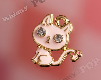 1 - Gold Tone Enamel and Rhinestone Pink Kitty Cat Charm, Cat Charm, Kitty Charm, Rhinestone Charm  (1-1J)