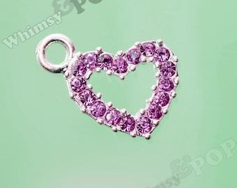 1 - Lavender is Love Heart Rhinestone Charm (4-4H)