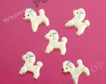Classic French Poodle Ivory Cream Puppy Blue Bow Decoden Resin Flatback Cabochons, Poodle Cabochons, Dog Cabochons (R4-094)