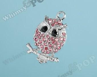 1 - Owl Silver Tone Pink Rhinestone Charm, Owl Pendant, Owl Charm (1-1G)