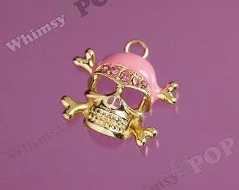 1 - Pink Pirate Inspired Gold Tone Enamel Rhinestone Skull Charm, Pirate Pendant, 24mm  (3-1B)