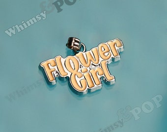 1 - Beige Wedding Flower Girl Pendant Silver Charm, Flower Girl Charm (3-3B)