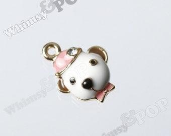 1 - 3D Puppy Dog Rhinestone Crystal and Enamel Gold Tone Charm, Dog Charm, 14mm  (3-1E)
