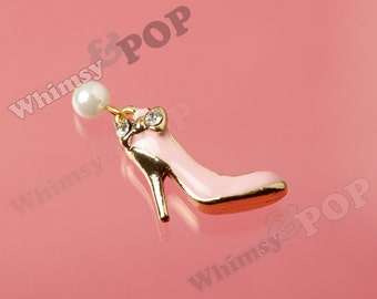 1 - 3D Pearl Crystal Rhinestone Bow Stiletto High Heel Pumps Gold Tone Charm Pendant, Doll Shoe Charm, Shoe Pendant,  High Heel Charm (3-6E)