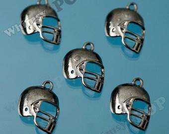 Gunmetal Black Football Helmet Charms, Football Pendants, Helmet Charms 16MM  x  12MM (R5-205)