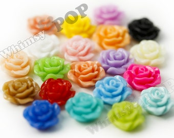 10mm - Mixed Colors Small Detailed Flower Rose Resin Cabochons, Rose Shaped, 10mm (R1-073-088)