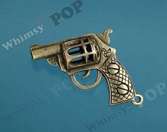 1 -  Antique Bronze Gun Pendant Charm, Large Gun Pendant, Double Sided Gun, Gun Finding, Handgun Charm, Handgun Pendant  (R5-206)