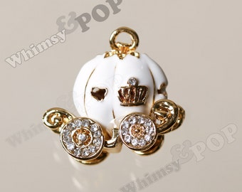 1 - Small White Enamel and Rhinestone Pumpkin Coach Fairy Tale Charm, 30mm x 25mm (3-5H)