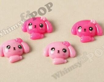 4 - Kawaii Pink Puppy Deco Resin Flatback Cabochons, Flat Back Embellishment, Dog Cabochons, Kawaii Dogs (R6-135)