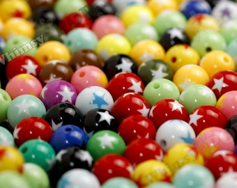 20 -  Mixed Colors Star Round Acrylic Beads, 16mm, 2mm Hole