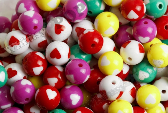 20 -  Mixed Colors Heart Round Acrylic Beads, Heart Beads, 16mm, 2mm Hole