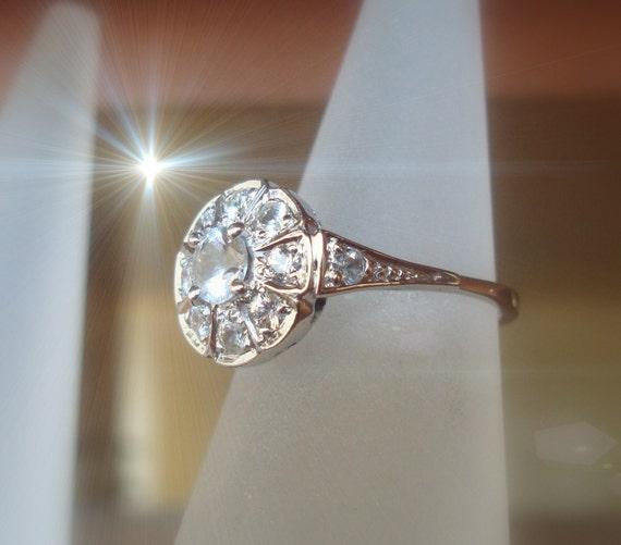 white gold ring, natural pure white Sapphiresring handmade Art Deco  P-026