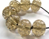Handmade lampwork bead set of 7 taupe glass bubble beads