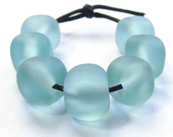 Faux sea glass lampwork bead set, curvy cube seaglass in pale blue / green