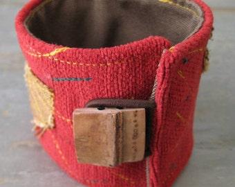 Brick Red Ragged Sewn Leaves Cuff Bracelet