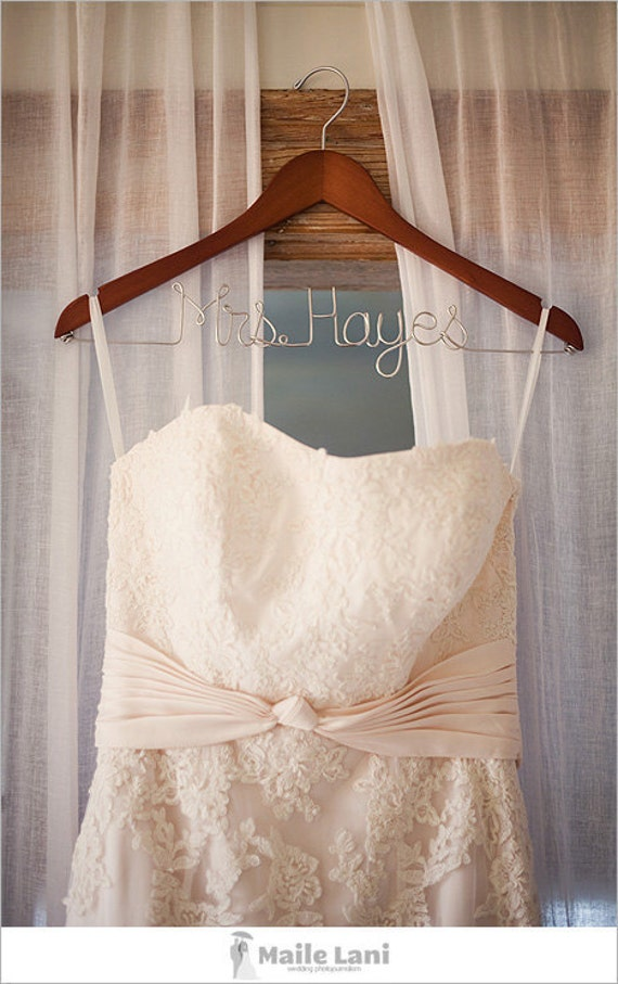 Wedding gown dress hanger with personalized name for Wedding dress on etsy