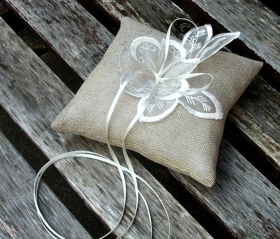 Bearer Pillow/Cushion in Natural Linen Cotton mix fine burlap with Embroidered Organza Applique