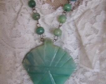 Antique Vintage RARE Carved Jade Glass Necklace