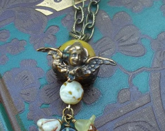 Angelic Overtones - Steampunk - Neo Victorian - Vintage Style - Quartz and Czech glass necklace