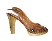 One of A Kind Glitzy Golden Chocolate Brown Sling Back Heels Size 6
