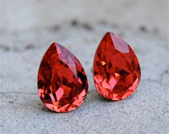 Padparadscha Watermelon Pink Stud Earrings Small Duchess Pear Swarovski Pear Earrings Mashugana