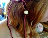 Pink and Brown Hippie Tie Beaded Crocheted Headband