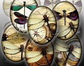 Dragonflies 30x40 and 22x30mm Digital Collage Sheet CG-457O - Oval Cameos - Printable Images - Jewelry Supplies - Instant digital download