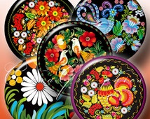 Russian Style - 2.625 inch 1.85 inch and 1.313 inch circles - Printable Images - Digital Collage Sheet CG-328B for Mirrors, Magnets, Buttons