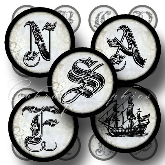 Royal Alphabet - 1 inch and 25mm circles - Digital Collage Sheets CG-198 for Pendants, Cabochons, Bottle Caps