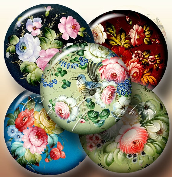 Zhostovo Russian Folk Art - 2.625 inch, 1.85 inch and 1.313 inch circles - Digital Collage Sheet CG-378 for Mirrors, Buttons