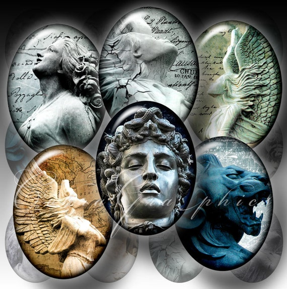 Statues - 30x40 and 22x30mm ovals - Digital Collage Sheet CG-287O - for Cameos, Jewelry, Crafts
