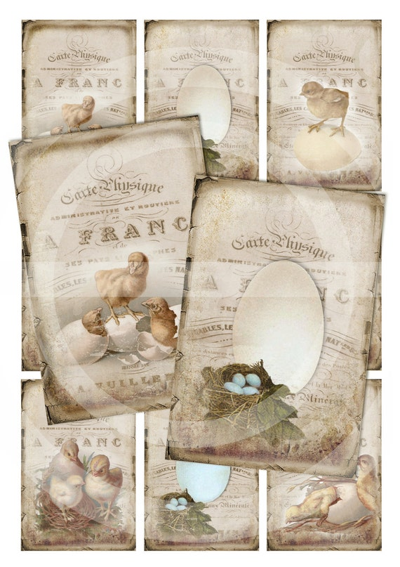 LITTLE CHICKENS - Easter ATC Cards - Set of 8 - Digital Download - Collage sheet