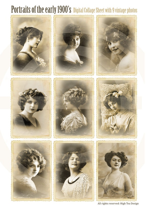 PORTRAITS of the EARLY 1900's - Set of 9 Atc cards - Collage Sheet -  Digital Download - Vintage Photo