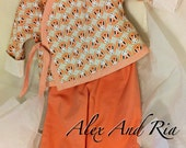 Girl Outfit Kimono Jacket Reversible Pants Peach and White Bunnies Ready to Ship Spring Clothing Easter Outfit OOAK Handmade Original Gift