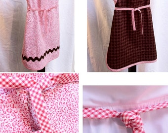 Girls Reversible Full Apron Pink Brown Ready to Ship Child Holiday Photo Prop Christmas Birthday Gift Stocking Stuffer