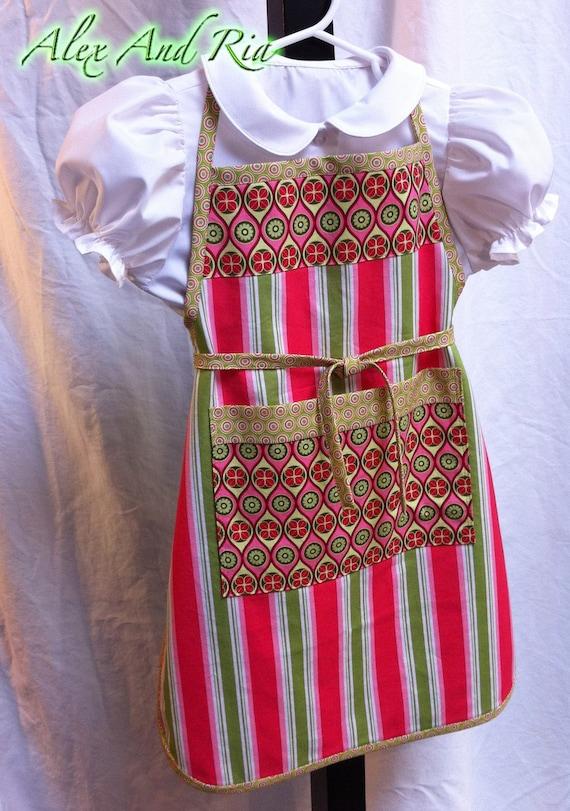 Girls Apron Pink Apple Green Full Reversible Ready to Ship Child Spring Summer Gift OOAK Handmade Original Gift