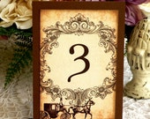 Wedding Table Numbers Vintage Horse and Carriage