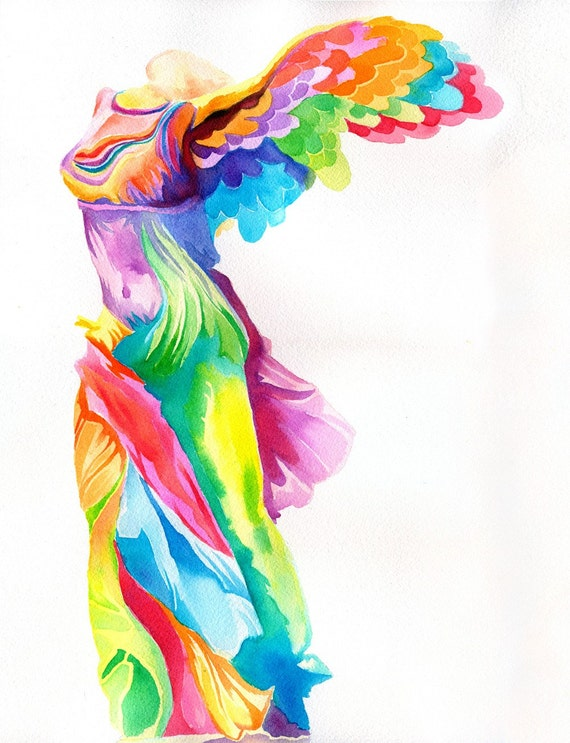 Nike of Samothrace Print (Hellenistic Winged Victory Greek Statue Goddess Sculpture as Rainbow Peter Max Psychedelic Watercolor Painting)