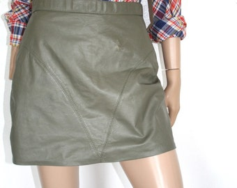 Grey Leather Skirt 80s
