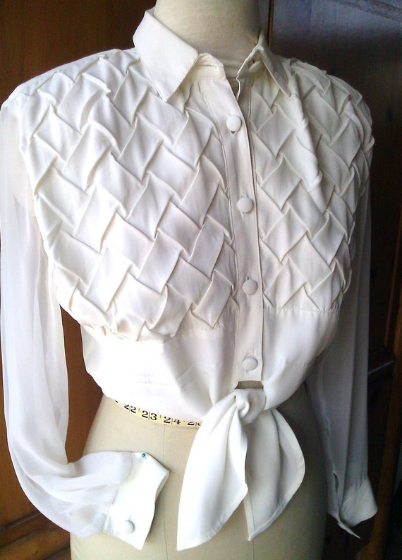 Vintage White Blouse Sheer Sleeves by Judy Knapp