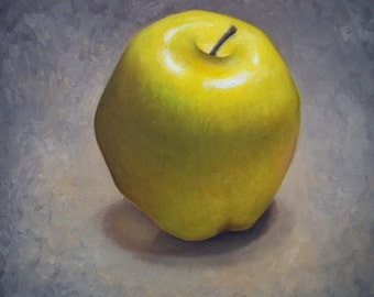 Apple still life Art Print, Yellow Chartreause apple oil painting reproduction, fruit wall art