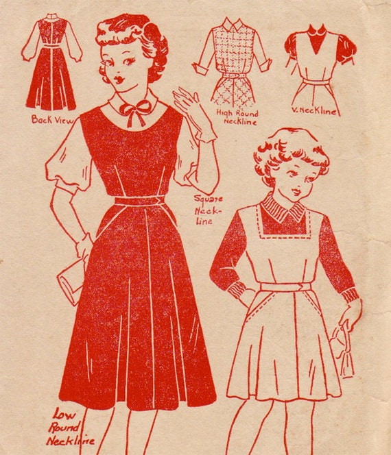 1940s Girl's Pinafore Vintage Sewing Pattern - Rare Australian Pauline Brand - Size 8