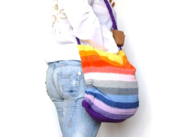 Summer tote bag , beach colorful bag, crochet purse, rainbow bag, striped bag